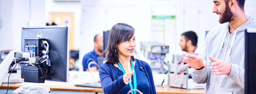 About Athena SWAN: teacher and student in Electrical and Electronic Engineering laboratory