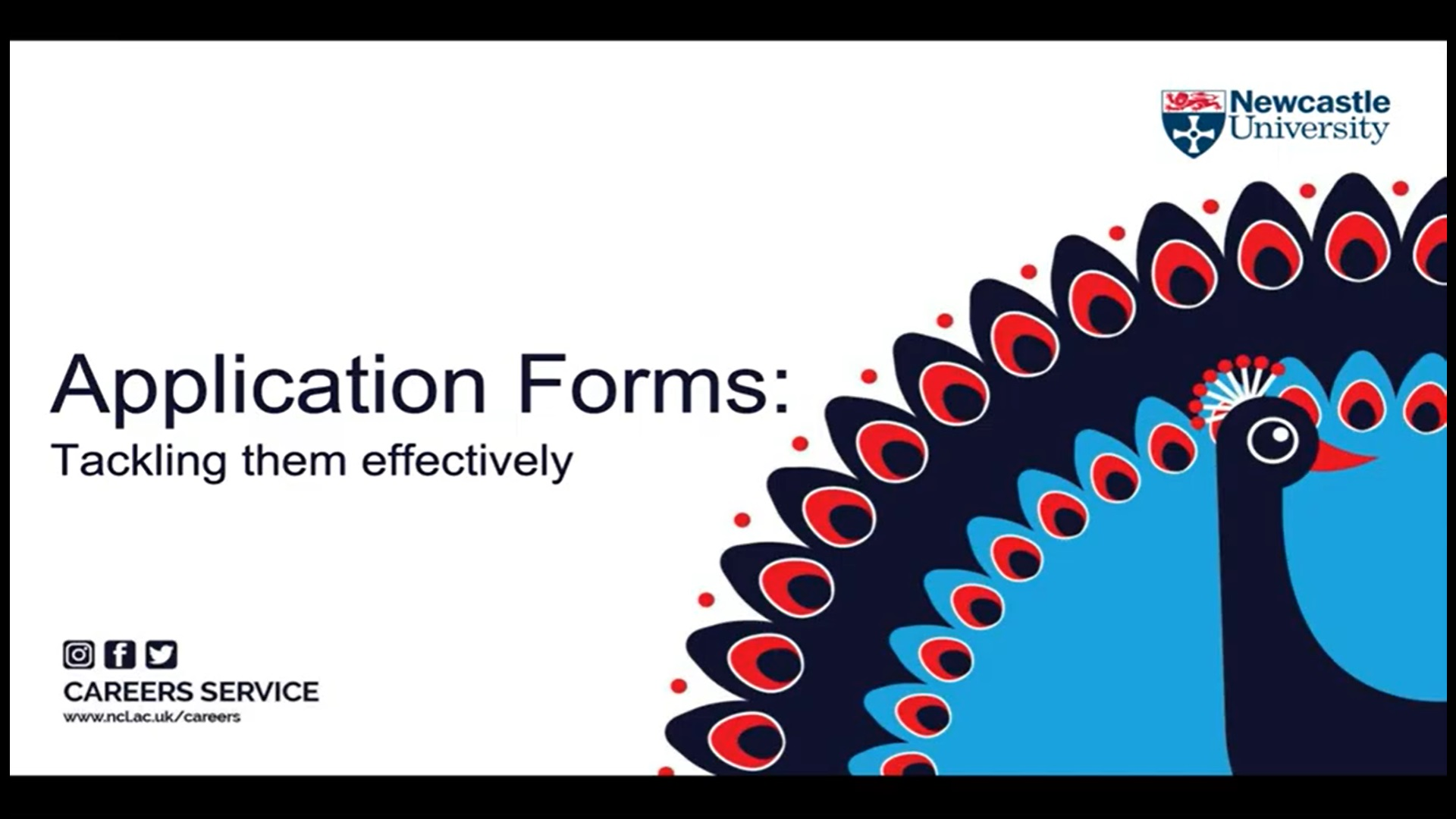 Title slide of application forms online masterclass