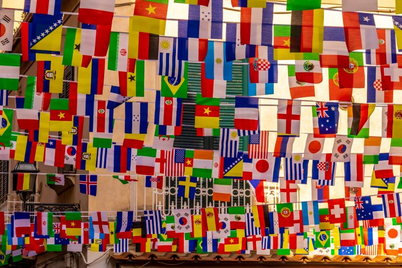 photo of various countries' flags to portray global awareness