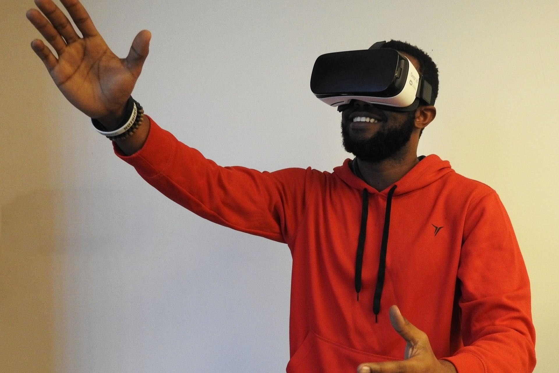 Student wearing virtual reality headset, to portray future focus