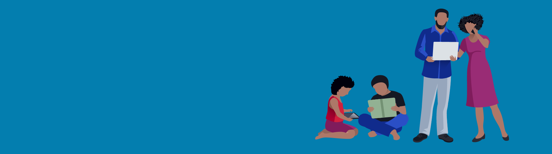 Illustration of a family, the parents on the phone and on a laptop, the children sitting down reading.