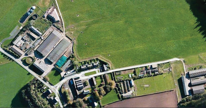 Aerial view of Cockle Park Farm