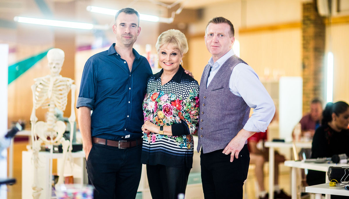 Angela Rippon with Dr Chris Tulleken and Newcastle University Researcher