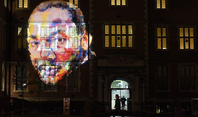 Image of Martin Luther King projected onto Newcastle University's Students' Union building
