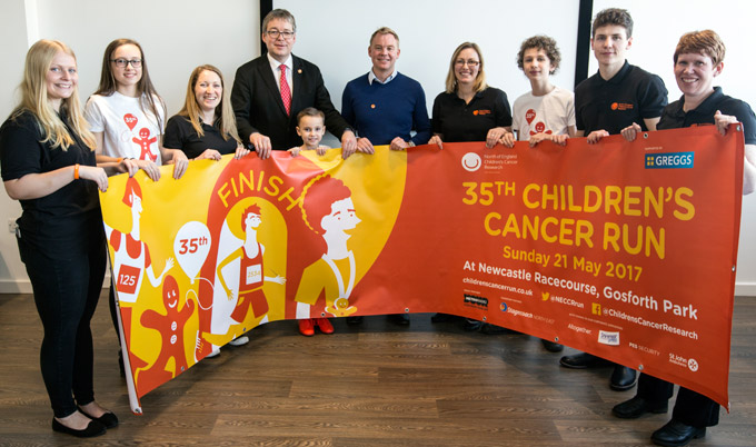 Professor Josef Vormoor with supporters of the Children's Cancer Run