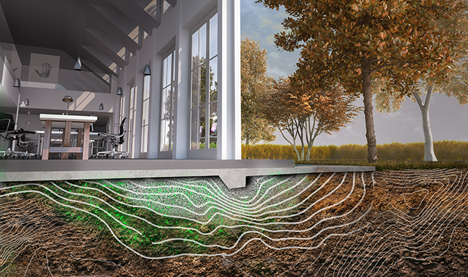 An artist's impression of bacteria forming the foundations of a building