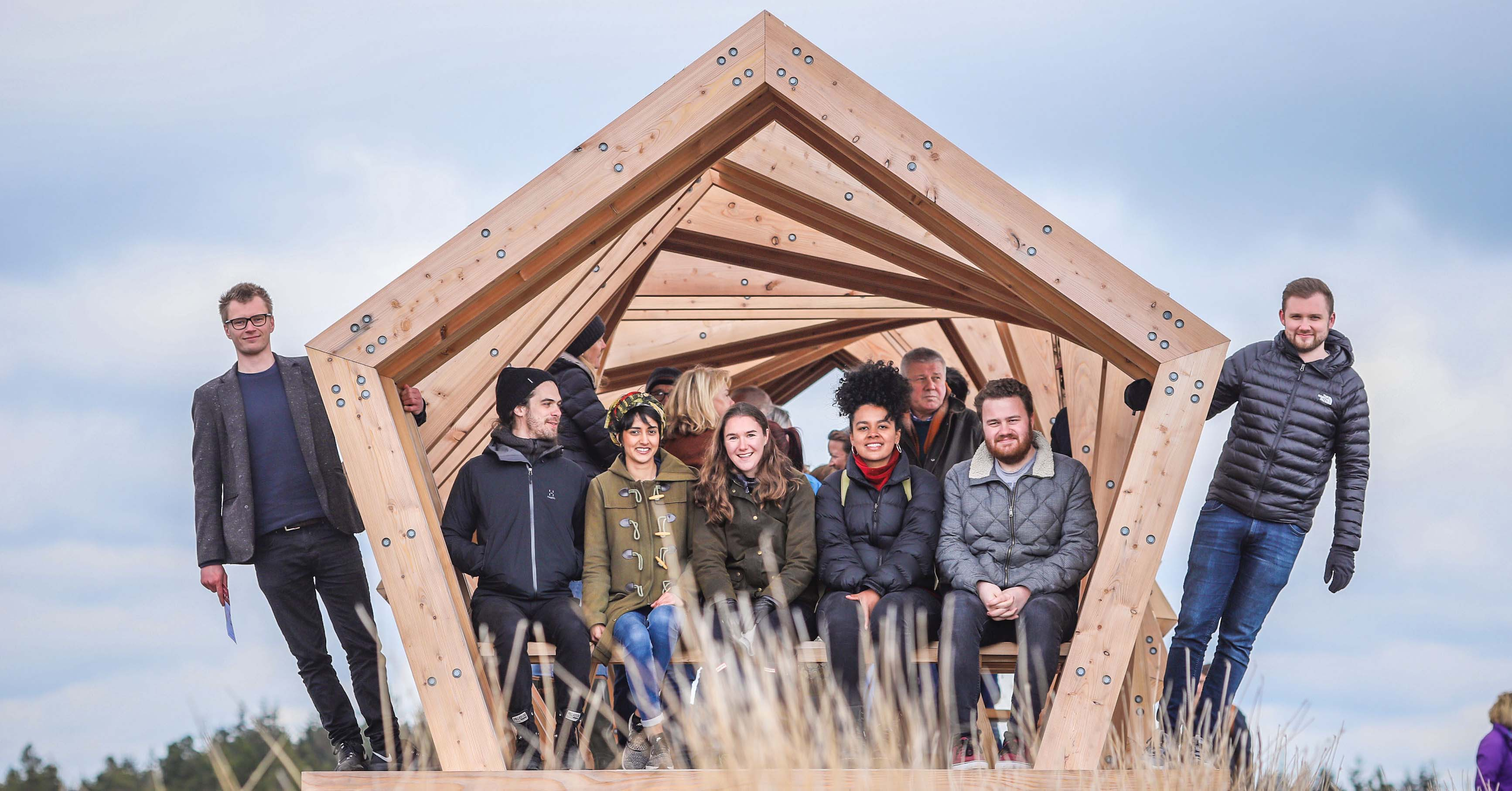 """The Nick 7"" (left to right) - Newcastle University students (Outside) Harry Thompson, (inside) Lewis Lovedale, Reshma Upadhyaya, Olivia Ebune, Dominic Davies, and (outside) Joseph English"