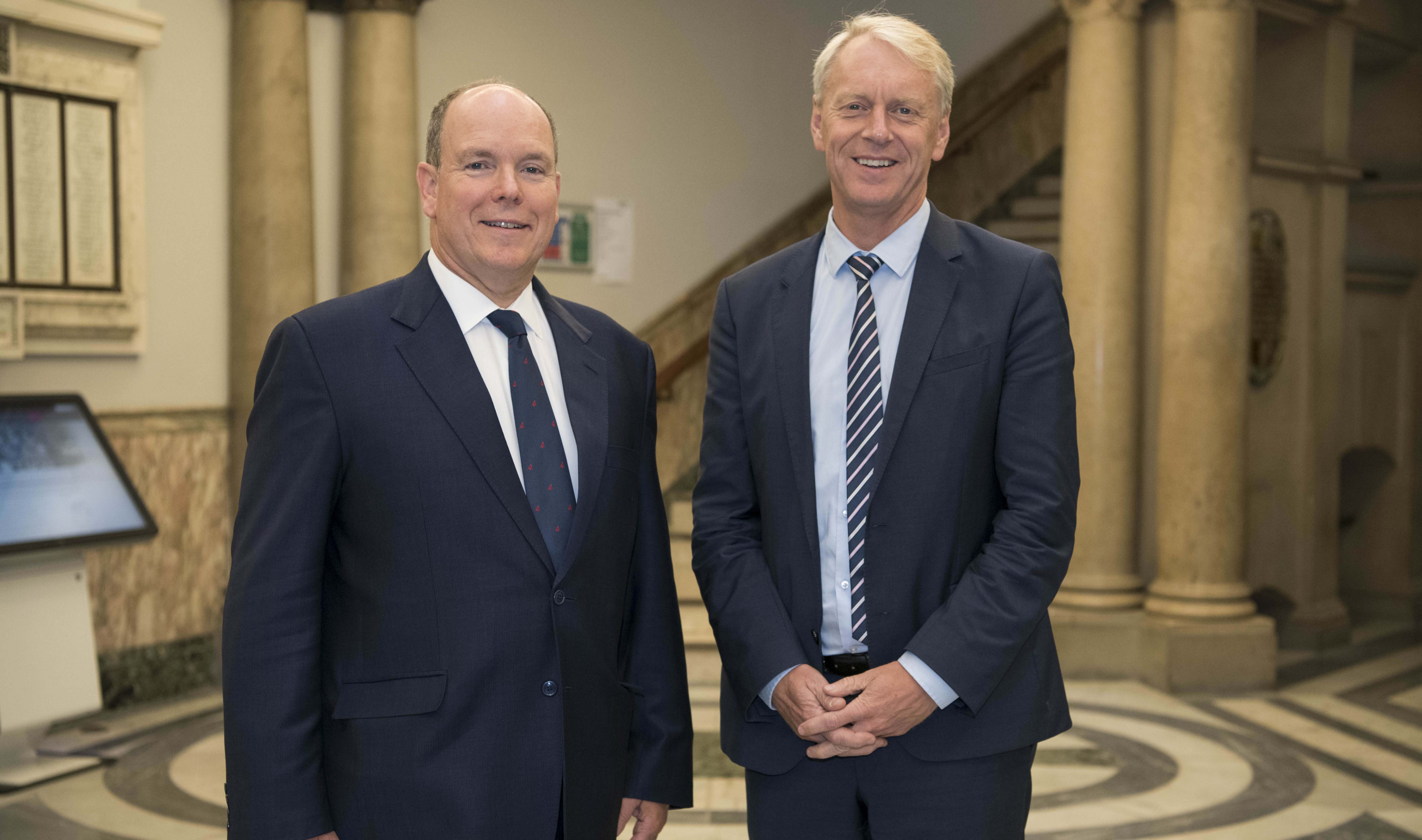 His Serene Highness Prince Albert II of Monaco with Newcastle University Vice-Chancellor and President, Professor Chris Day standard