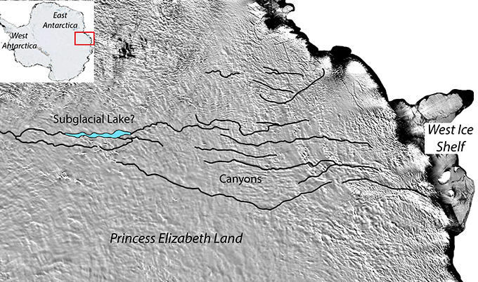 new canyons discovered below the Antarctic ice sheet