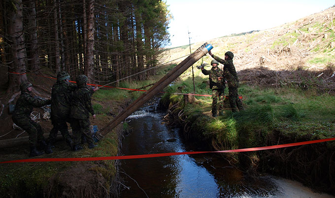 members of a University Armed Service Unit on a military exercise