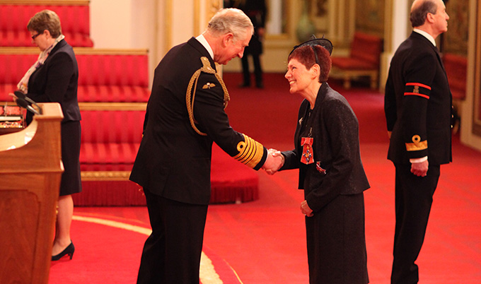 Professor Dame Victoria Bruce is made Dame Commander of the British Empire by Prince Charles