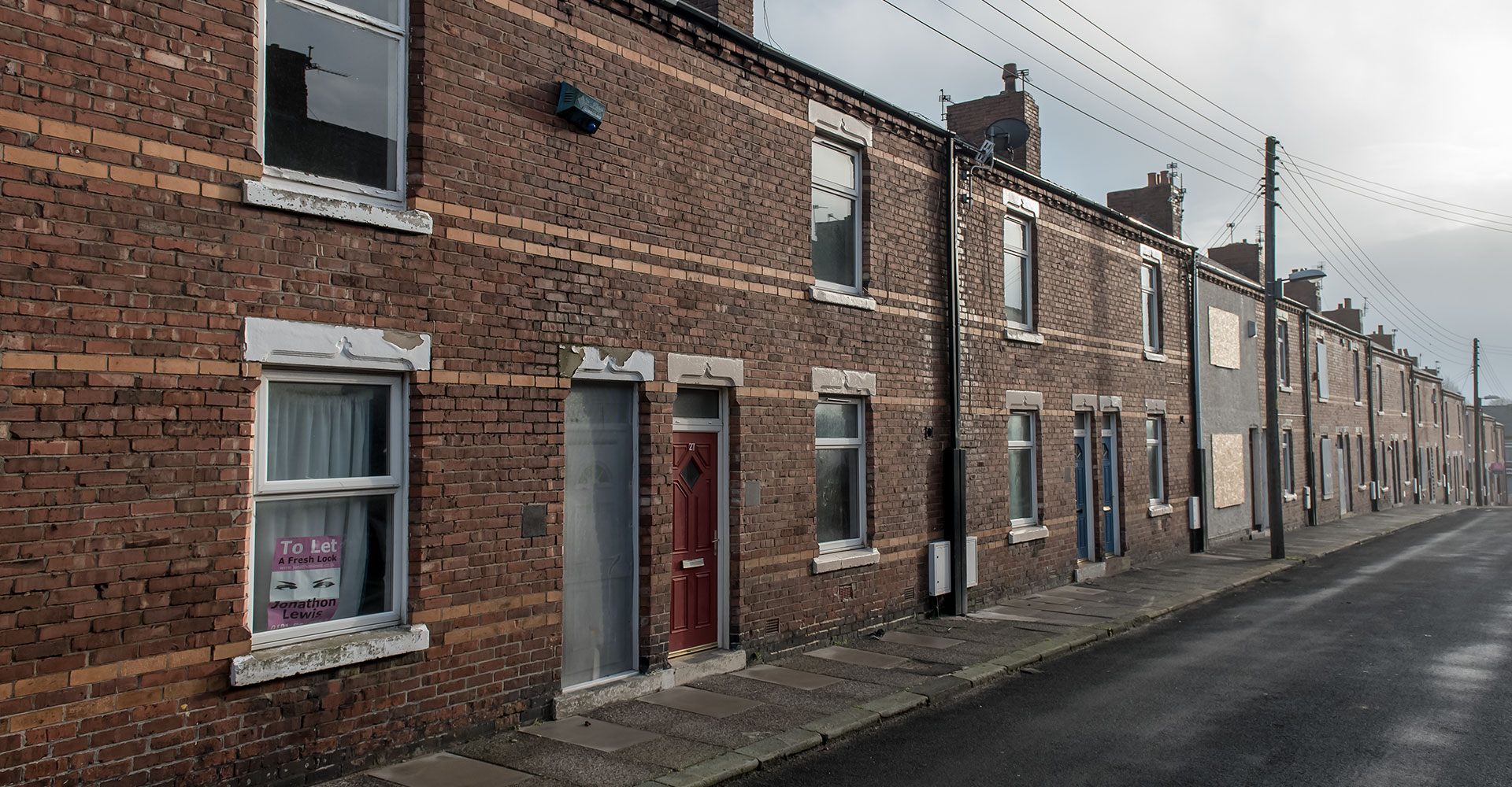 Social Justice: Housing injustice and the disposal of social housing. A row of terraced houses in Horden, County Durham.