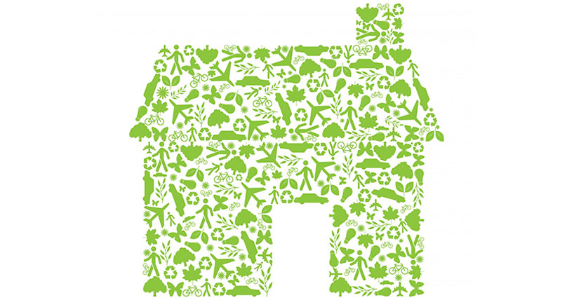 Cartoon house made of green icons