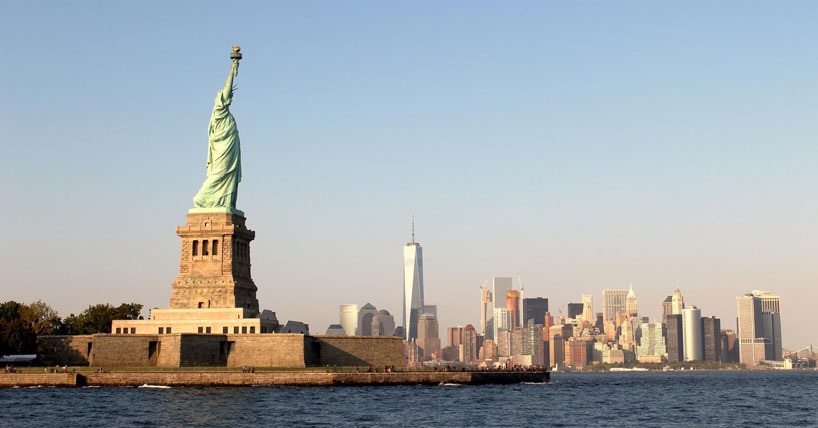 The Statue of Liberty and NYC skyline
