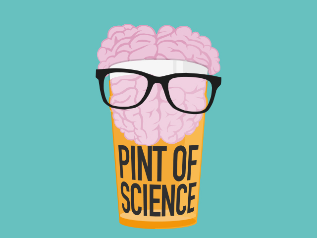A brain in a pint glass wearing glasses.
