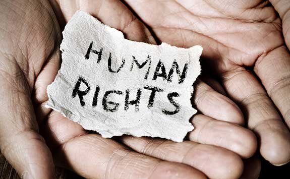 A human rights message in some hands.