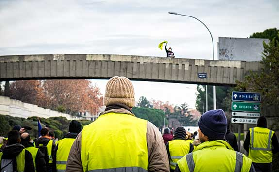 A yellow vest protest on economic rights in France.