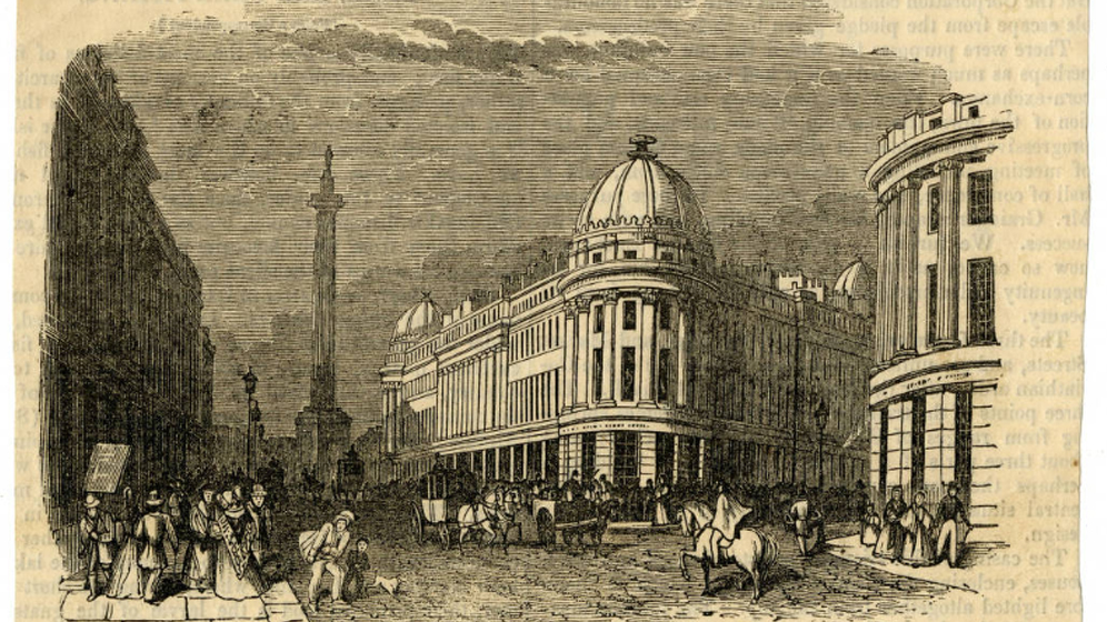 Collection highlight: Illustration of Grainger Street depicting Grey's Monument and surrounding buildings