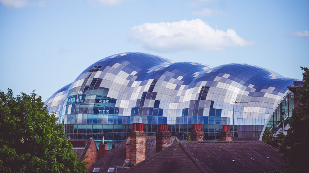 The Sage Gateshead looms large above rooftops
