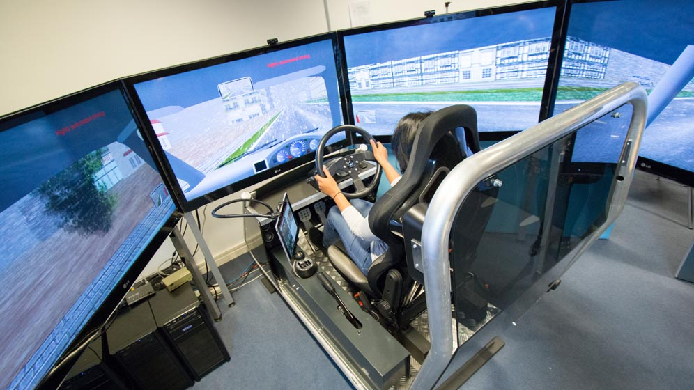 A student using a simulator