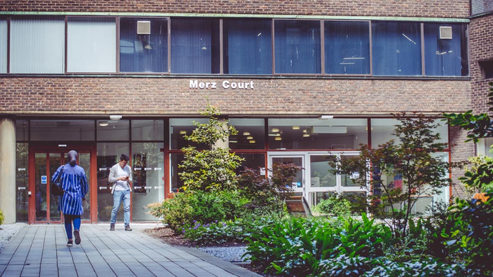 Students outside the Merz Court building