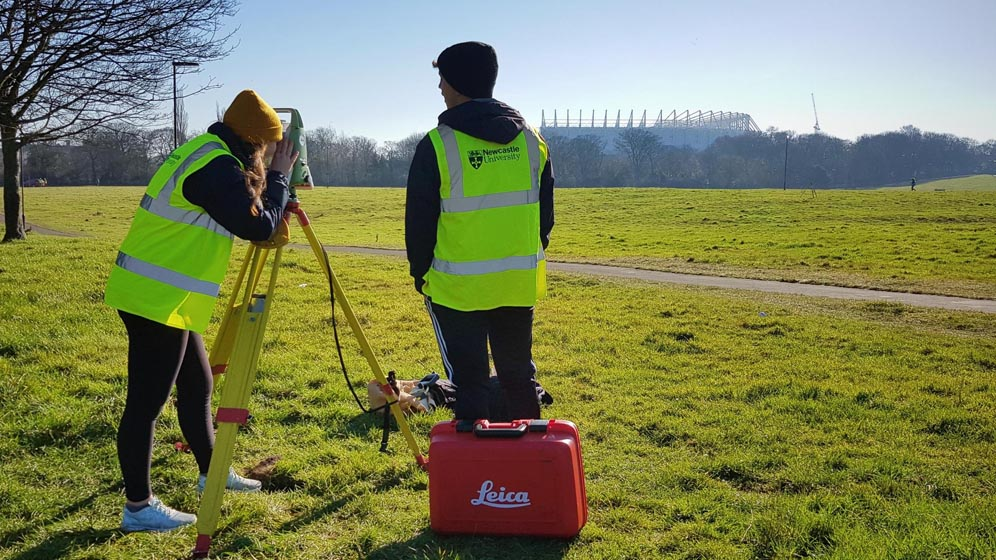 Students surveying in Leazes Park