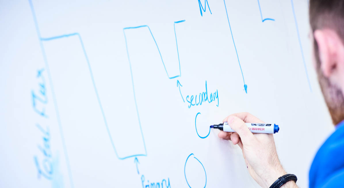 A student working at a whiteboard