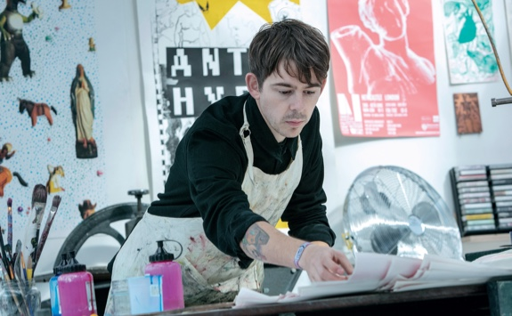 A student working in an art studio